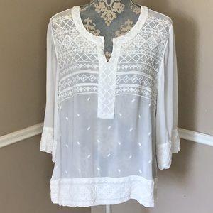 Cross-stitch Embroidery Sheer V-neck Half Sleeve